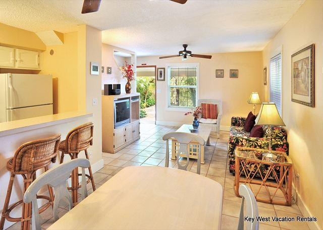 Dining Room / Kitchen Bar Area Looking Through to Living Room an - ''ABACO SUITE'' - Beautiful 2-Story Home in Perfect Location w/ Shared Pool. - Key West - rentals