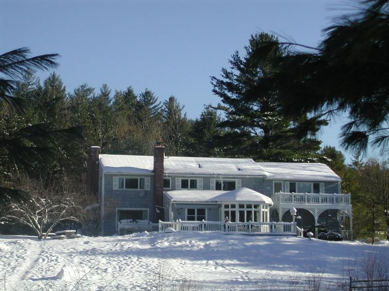 View of the house from sledding hill - Stowe's BEST views, Pond , Fireplaces,  Gameroom, - Stowe - rentals