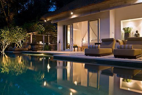 Pool to dining pavilion from leisure pavilion - SUNGAI GOLD: five star luxury private villa Bali - Canggu - rentals