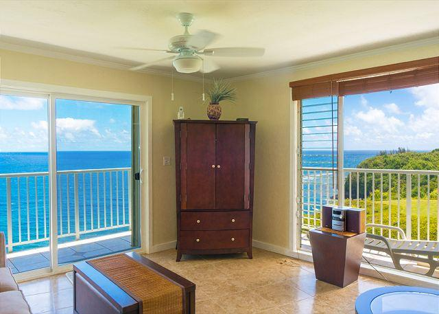 spectacular oceanfront views from every room - Alii Kai 4304: Beautiful north shore 2br/2ba, top floor corner with VIEW +++ - Princeville - rentals