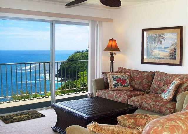 Premium oceanfront views in this top floor 2br/2ba with private lanai, pool. - Image 1 - Princeville - rentals