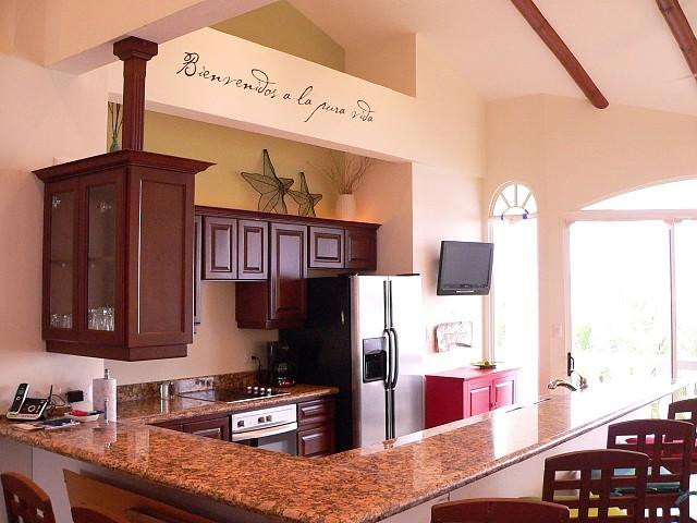 Kitchen with Gorgeous Dark Cabinets and Granite - Potrero Sunset Condominium - Playa Potrero - rentals