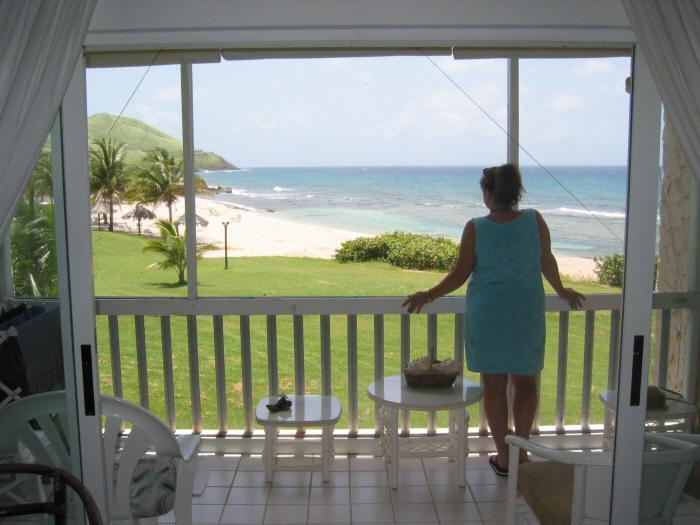 View from livingroom and patio - Caribbean Breeze - Beachfront Condo - St. Croix - Christiansted - rentals