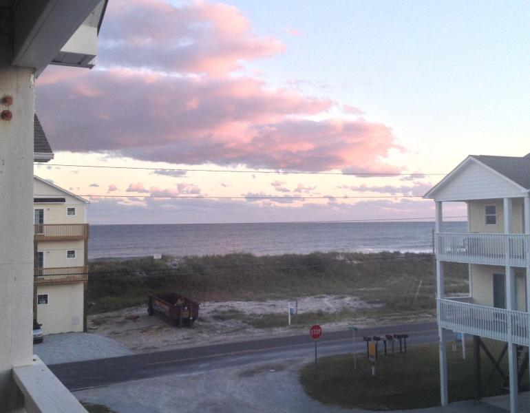 View of ocean off kitchen deck - A Mermaid's Dream! Oceanview Duplex on N. Topsail - North Topsail Beach - rentals