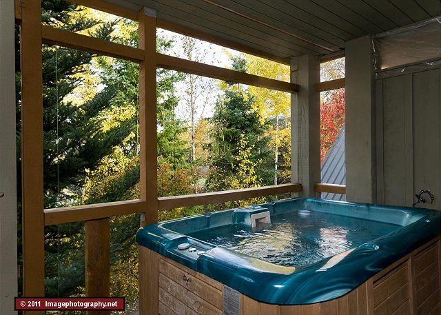 A private hot tub and BBQ on your deck makes it a real vacation. - 45 Glaciers Reach this 2br home has a hot tub & pool in Whistler Village - Whistler - rentals