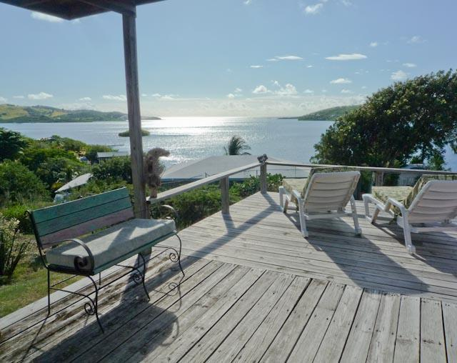 Rear deck outside master bedroom - Sweet 2 BR House with Fantastic View, Cool Breeze - Culebra - rentals
