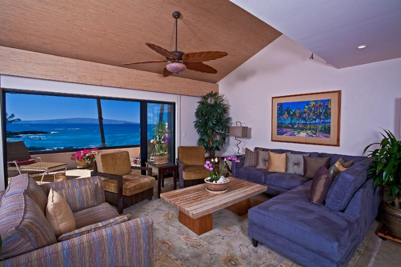 Large Open Ceiling Living Area with Stylish Contemporary All-New Furnishings - Opens to Expansive Private Outdoor Veranda - Turquoise Cove G301 at Makena Surf - Maui - rentals