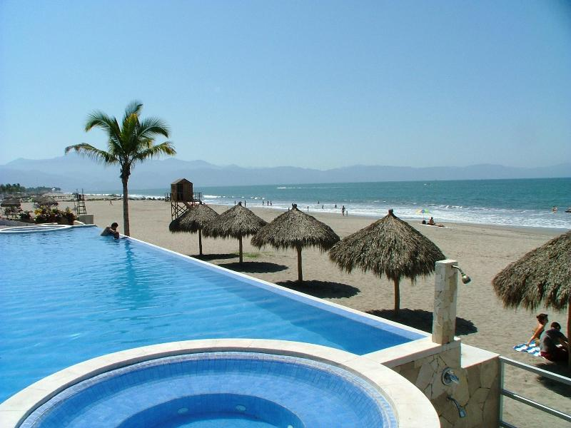 Beach As Viewed From Pool - Oceano Sueno -  A 3BR/2BA Luxury Beachfront Condo - Puerto Vallarta - rentals