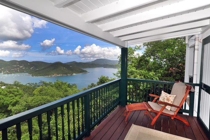 Covered Porch at Astral Cottage - Astral Cottage: spacious, hot tub,view, remote - Coral Bay - rentals