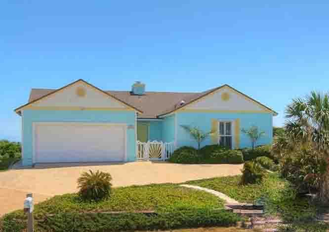 Front Elevation with Ocean Behind - Pristine One Level 3/3 Oceanfront Home- Huge Deck - Ponte Vedra Beach - rentals