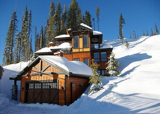 FRONT ELEVATION - Blue Bear, Exquisite Chalet Designed with Entertaining in Mind on Shotcut Run - Big White - rentals