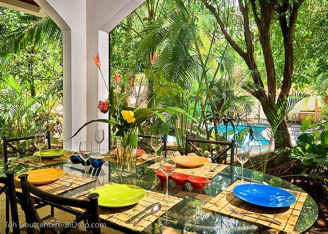 Terrace - Classy beach condo- modern/tropical furnishings, kitchen, a/c, private patio - Tamarindo - rentals