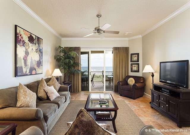 Sit back in relaxing living room and watch the ocean! - 832 Cinnamon Beach, Beach Front, 3rd Floor, 3 bedrooms, HDTV - Palm Coast - rentals