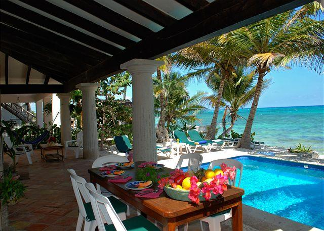 Poolside dining, Casa San Francisco, South Akumal - Charming Hacienda style villa in South Akumal with guesthouse. - World - rentals