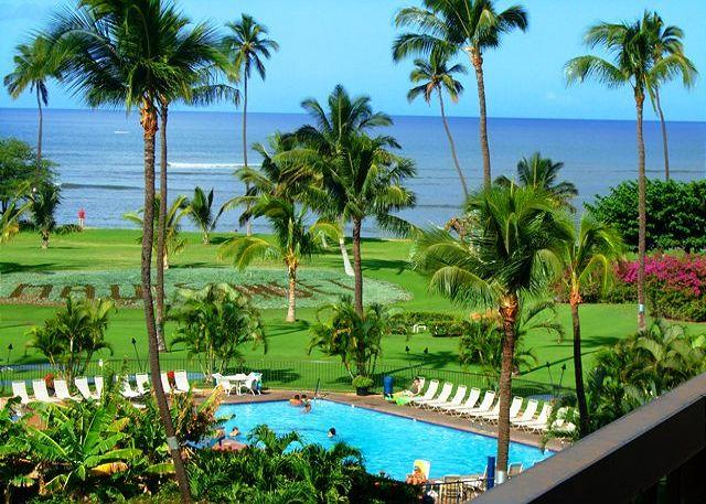 View from A 509 - Maui Sunset #A509  Oceanfront Panoramic Ocean Views 1 Bd 2 Bath Great Rates! - Kihei - rentals
