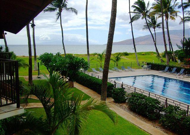 Waiohuli Beach Hale pool and grounds from a 2nd story unit - Waiohuli Beach Hale #C-113  2 Bd 2 Bath. Ocean Views! $159 SUMMER SPECIAL! - Kihei - rentals