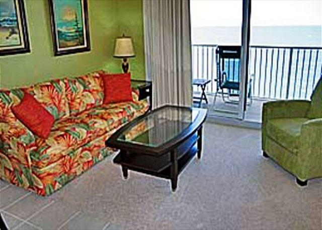 Living Area with Gulf View - Beachfront Property with Great Views Sleeps 8, Open 3/14 - Panama City Beach - rentals