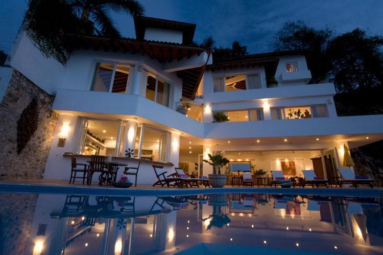 Casa Salinas II - at evening - Family Villa on Los Gatos Beach 6 Bedrooms w/Cook - Puerto Vallarta - rentals