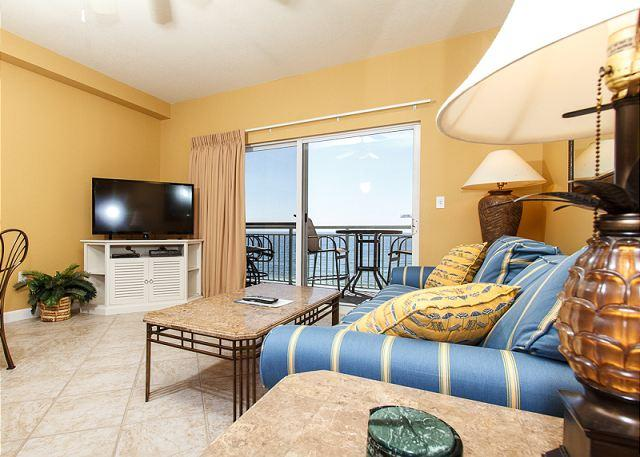 Updated in September 2013! This 6th floor beach front living roo - PI 602: Beautiful beachfront top floor condo- WiFi, pool, Free Beach Service - Fort Walton Beach - rentals