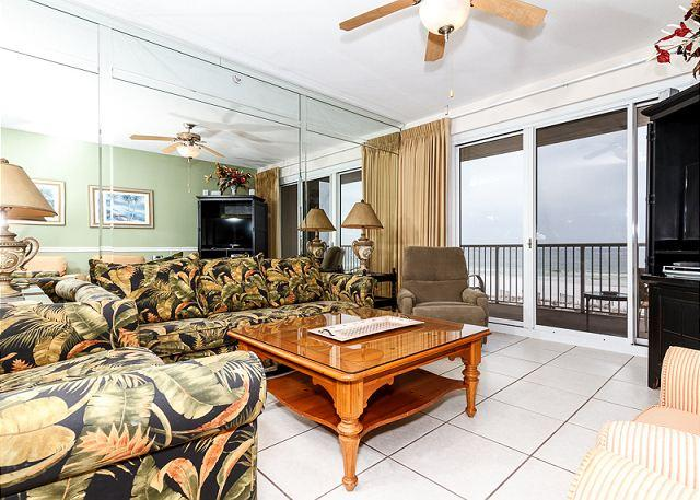 Outstanding views and balcony entry from the spacious living roo - SP 302:Luxury beachfront condo-balcony,hot tub,beachside pool,free beach SVC - Fort Walton Beach - rentals