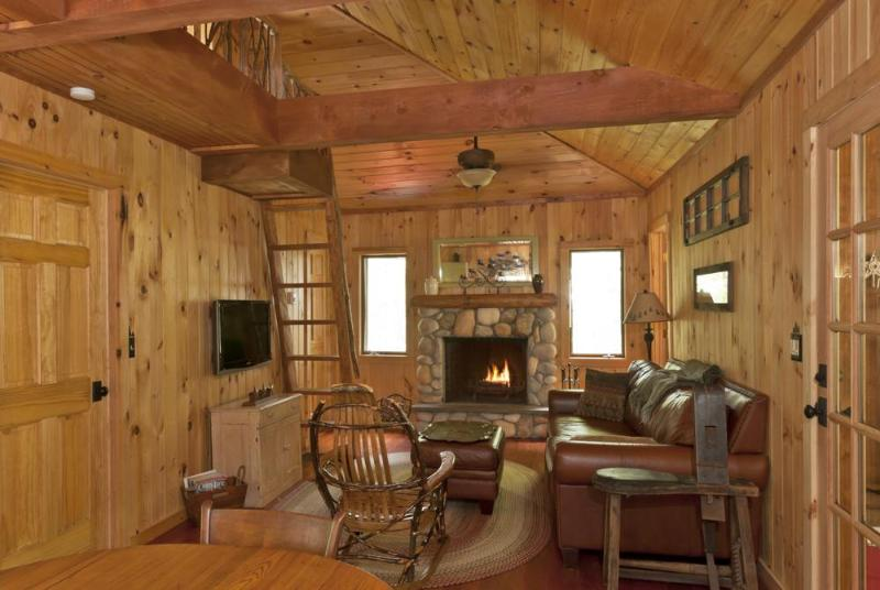 Livingroom with wood burning fireplace - Romantic Adirondack Getaway-Lake Rights,2 Kayaks! - Wells - rentals