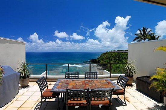 lanai - Puu Poa 413-Premier 2 bedroom/2 bath penthouse with gorgeous ocean views- heated pool - Princeville - rentals