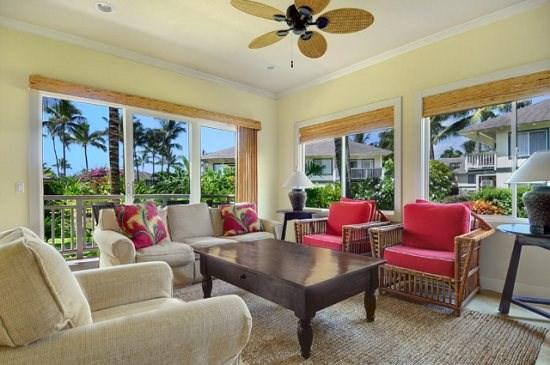 living room  - Free car with Regency Villas 214 - Luxurious greenbelt 2B/2B property, a short walk from Poipu Beach with central AC. - Poipu - rentals