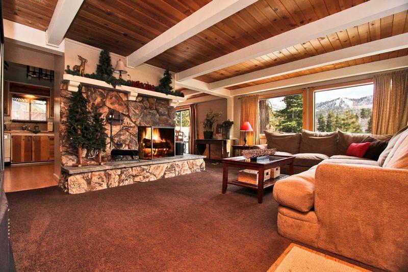 Beamed ceilings in living room with views. - Big Bear Lake Haven- Spa! Ping Pong! Pool Table! - Moonridge - rentals