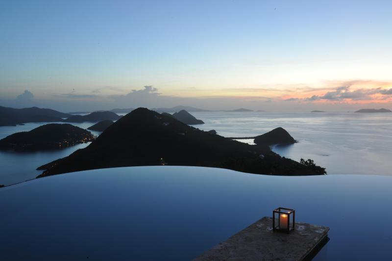 The most beautiful view of the Virgin islands from the main infinity edge pool - Luxury Caribbean Villa 6 bedrooms Two Pools. Staff - West End - rentals