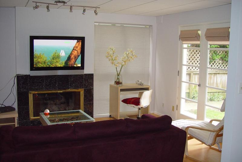Living Room with fireplace and TV - Venice Beach Apt with Terrace - Los Angeles - rentals