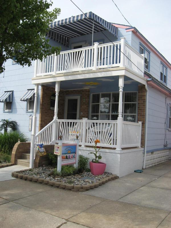 Beautiful covered porch-2nd floor-2 porches, front and back - Beauty by the Sea-3 houses to the beach - Wildwood - rentals