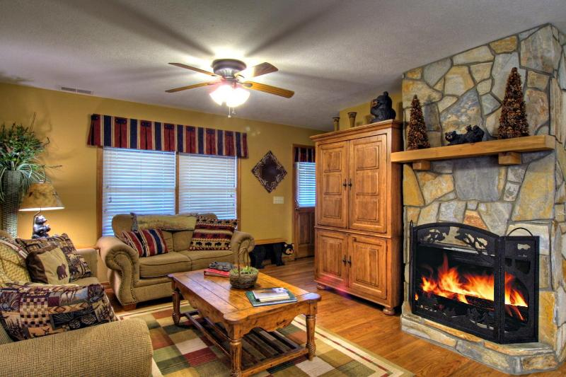 Cozy living room with beautiful remote activated gas fireplace/Satellite TV/DVD - Altitude Adjustment - Maggie Valley - rentals