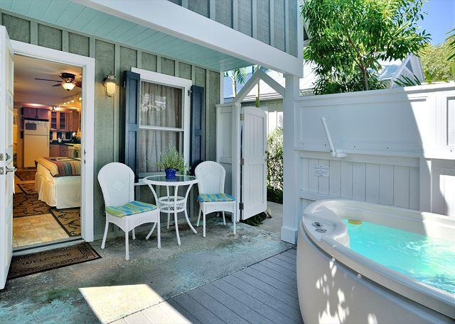 "Private Deck and Jacuzzi Area - ""HARRISONS HIDEAWAY"" Luxury Cottage - Private Hot Tub - Half Block To Duval - Key West - rentals"