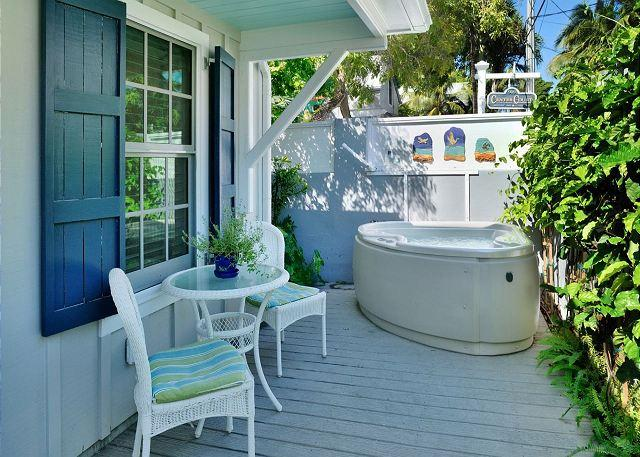 """Deck Area With Seating and Private Hot Tub - """"McCARTNEY'S MANOR"""" Luxury Cottage - Private Hot Tub - 1/2 Block To Duval St! - Key West - rentals"""