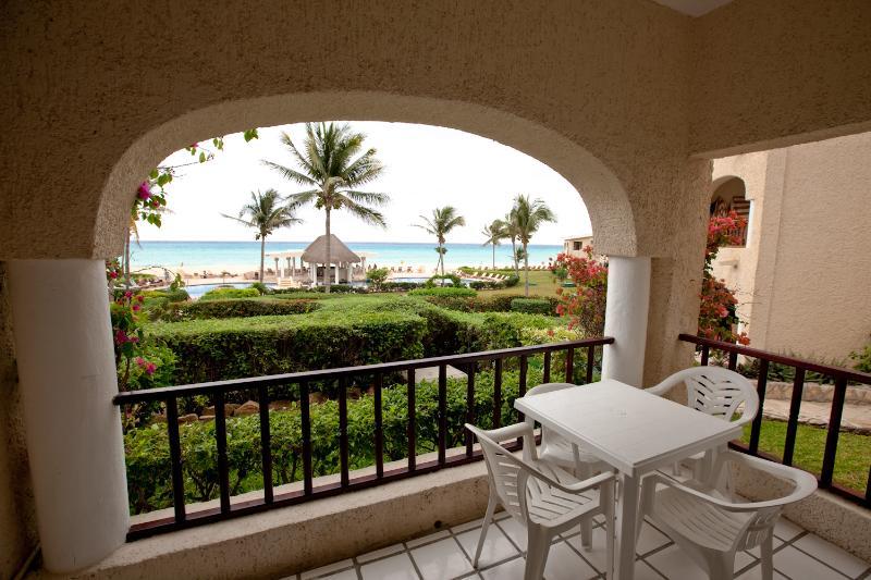 Terrace off living room with oceanview - 2br Beachfront condo Xaman-ha 7011 - Playa del Carmen - rentals