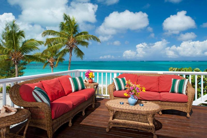Exterior beachside living room on newly expanded veranda - Windrose Estate on Grace Bay beach: sleeps 15! - Providenciales - rentals