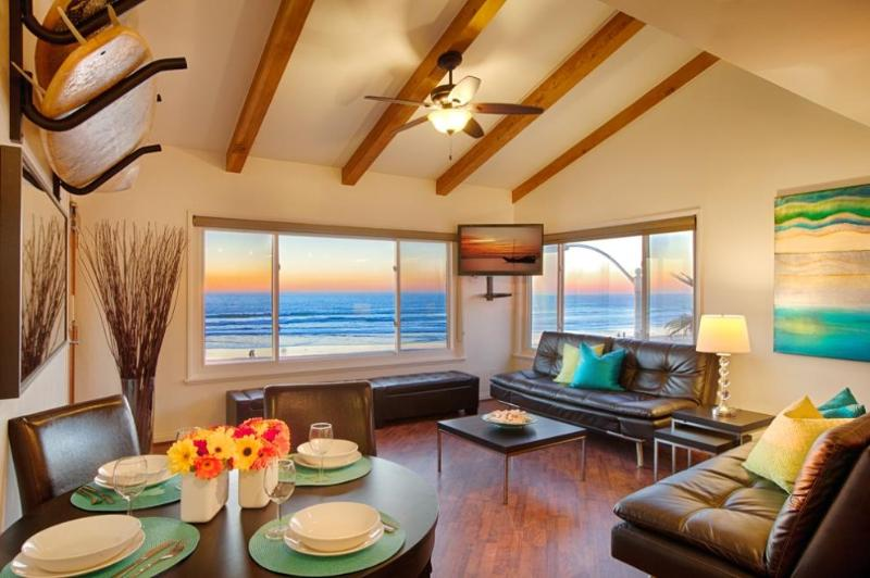 Living Room with 2 Euro Loungers that convert to Queen Beds - 180 Full Ocean View - Surf Rack - Surfer's Penthouse Mission Beach - Pacific Beach - rentals
