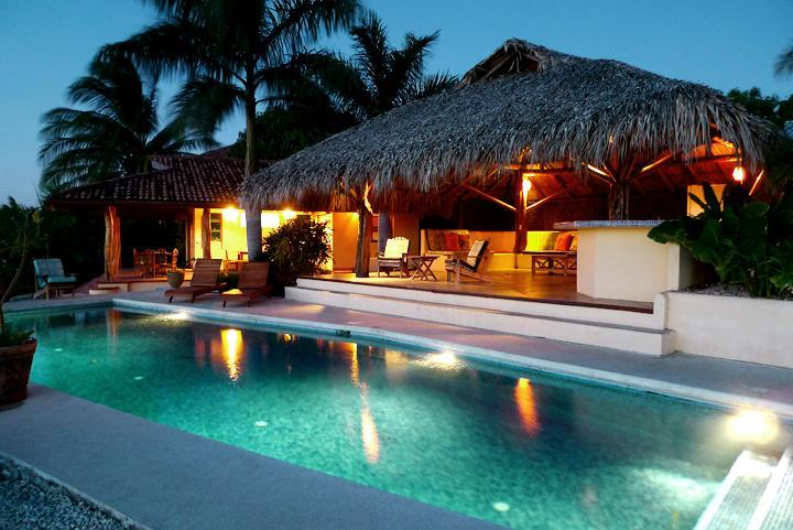 Pool and rancho at dusk - Casa Vista Azul - Best Ocean View in Playa Negra! - Playa Negra - rentals