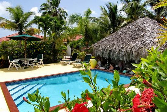 Pool with tropical flowers - Villa on two waterfronts between ocean and lake - Providenciales - rentals