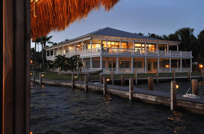 View of the Royal Palm Caribbean home from a shared 450 foot fishing pier - Ocean-Front Caribbean Home. - Islamorada - rentals