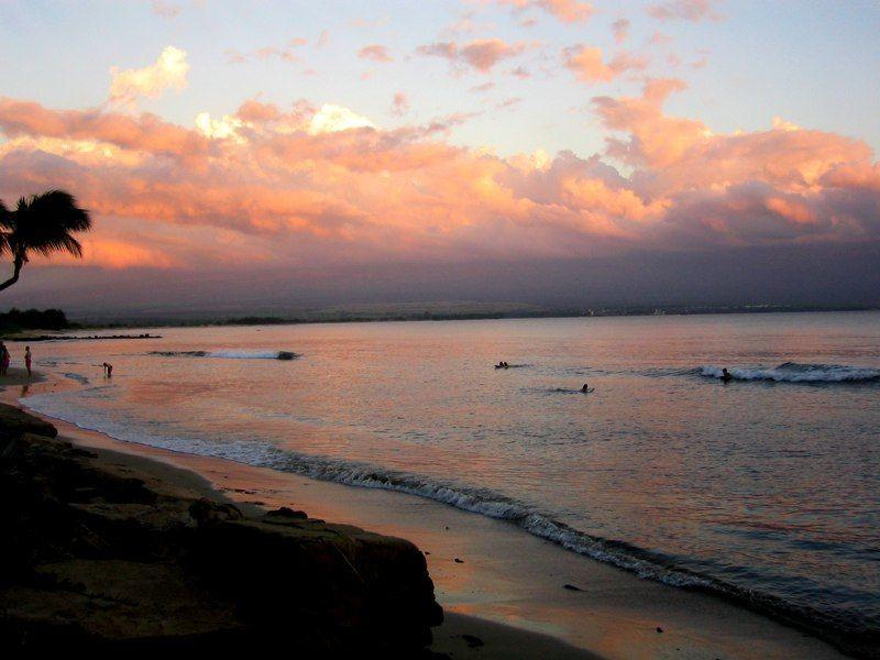 Enjoy a sunset swim in the calm surf of our protected beach - Beautiful Maui condo ON the beach:  2 BR/2BA AC - Maalaea - rentals
