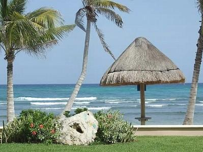 View of Beach, Ocean and Yard from Terrace...Breath Taking!! - BEACHFRONT, Ground Floor, 3 BR, 3.5 Bath - Puerto Aventuras - rentals