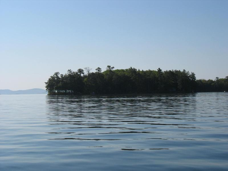 LittleCampIslFromDistance - Little Camp Island Lake Winnipesaukee N. H. USA - Gilford - rentals
