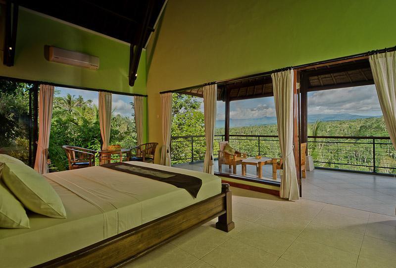 bedroom and views on left - Hillside Eden Villa Bali.[Puri Rama Suka] - Payangan - rentals