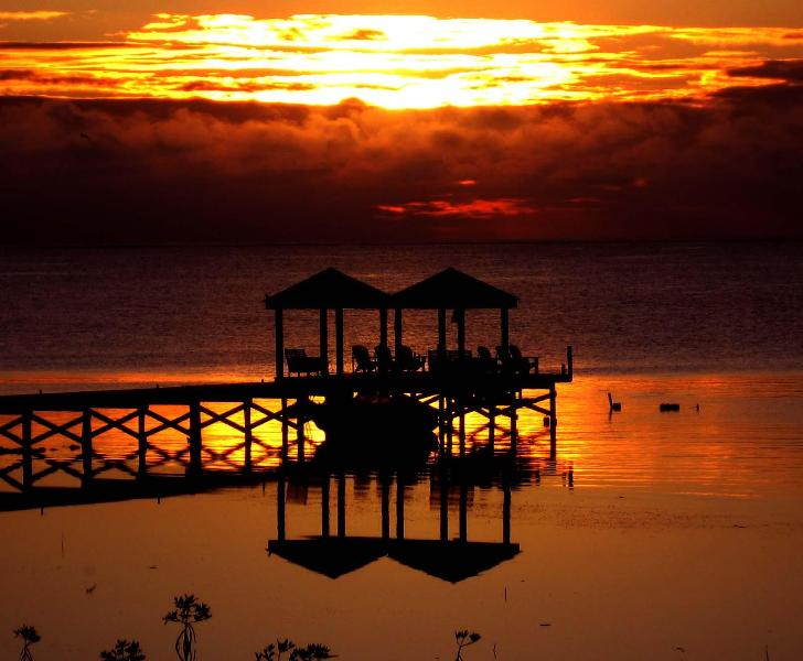 Coffee and sunrise at the end of the dock, paradise found - Casa Amarillo private house w/ pool, staff, Belize - San Pedro - rentals