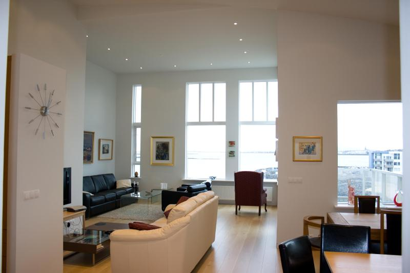 The open plan living area is spacious - Beautiful and Luxurious Oceanfront Apartment - Reykjavik - rentals