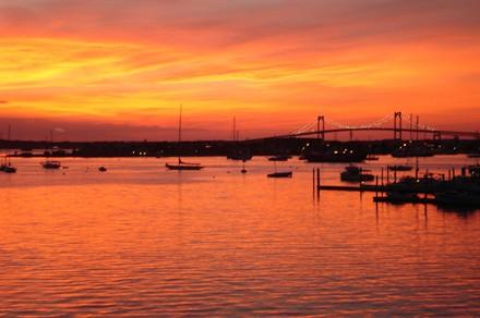Sunset on Fire!! View from Ocean Front 1 Unit 527 - Newport RI Waterfront  Condos - Newport - rentals