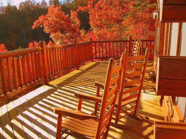 Balcony directly off the family room on the main level. - Beautiful 5 Bedroom Luxury Lodge - Pigeon Forge - rentals