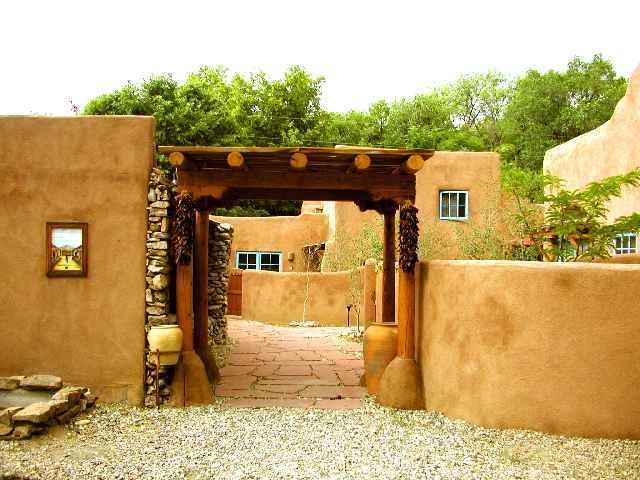 Approach to #3 through distant arch - Casa Encantada 3 - Taos - rentals