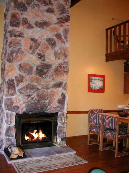 Massive two story granite wood burning fireplace - Twining 5 - Taos - rentals